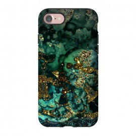 iPhone 8/7  Indigo Green and Gold Glitter Ink Marble by Utart