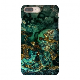 iPhone 8/7 plus  Indigo Green and Gold Glitter Ink Marble by Utart