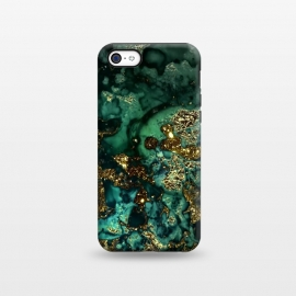 iPhone 5C  Indigo Green and Gold Glitter Ink Marble by Utart