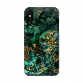 iPhone X  Indigo Green and Gold Glitter Ink Marble by Utart