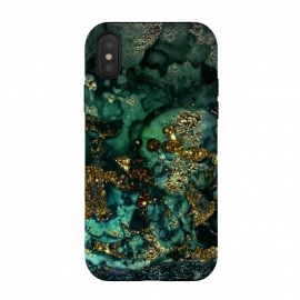 Indigo Green and Gold Glitter Ink Marble by Utart