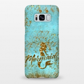 Galaxy S8+  We all need mermaids - Teal and Gold Glitter Typography  by Utart