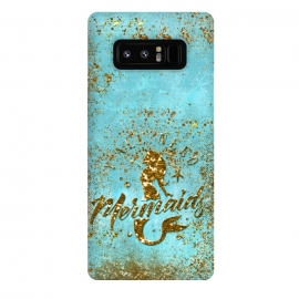 Galaxy Note 8  We all need mermaids - Teal and Gold Glitter Typography  by Utart