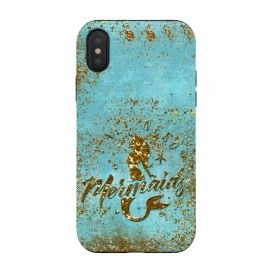 iPhone Xs / X  We all need mermaids - Teal and Gold Glitter Typography  by Utart (fish, trendy, girly, ocean ,sea, shell, metal, mermaid, scales ,mermaid ,scales, metal ,foil ,gatsby, chic, elegant, feminine, luxury, fashion ,glitter ,glamour, utart, yellow, gold ,golden, golden, typography, quote, Typography,teal,blue,turquoise,gold glitter,nature,fairy)