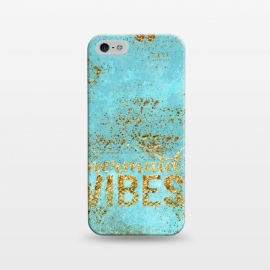 iPhone 5/5E/5s  Mermaid Vibes - Teal & Gold Glitter Typography by Utart