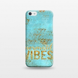 iPhone 5C  Mermaid Vibes - Teal & Gold Glitter Typography by Utart