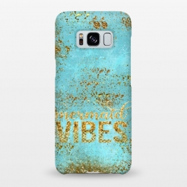 Galaxy S8+  Mermaid Vibes - Teal & Gold Glitter Typography by Utart