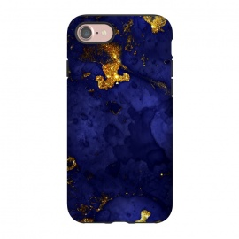 iPhone 8/7  Indigo and Gold Ink Marble by Utart