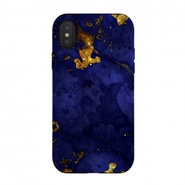 iPhone X  Indigo and Gold Ink Marble by Utart
