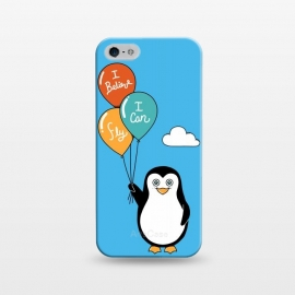 iPhone 5/5E/5s  Penguin I Believe I Can Fly by Coffee Man (penguin, cute, adorable, kid, kids, children, i believe i can fly, fly, flying, pet, pets, pet lover, animal lover, sky, balloons, fun, funny, humor)
