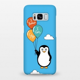 Galaxy S8+  Penguin I Believe I Can Fly by Coffee Man (penguin, cute, adorable, kid, kids, children, i believe i can fly, fly, flying, pet, pets, pet lover, animal lover, sky, balloons, fun, funny, humor)