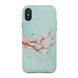 iPhone Xs / X  All Over Again - Spring is Back by Utart ( blossom, tree, spring, flower, pink, japan, japanese, nature, season, floral, petal, beautiful, bloom, illustration, flora, sakura, blooming, natural, beauty, botany, summer, springtime, april, asia, botanical, romantic, cherry blossom, vintage, butterfly, typographic, animal,typography,saying,teal)