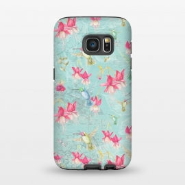 Galaxy S7  Hummingbirds and Fuchsia by Utart (hummingbird, bird, nature, wildlife, wild, animal, tropical, colorful, fauna, feathers, summer, exotic, feather, pattern, floral, colibri,teal,pink,turquoise,blue,aqua,watercolor,fuchsia,flower,flowers,spring,girly,trendy,pattern)