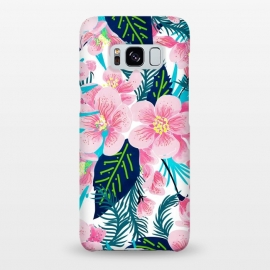Galaxy S8+  Floral Gift by Uma Prabhakar Gokhale (watercolor, pattern, floral, exotic, flowers, blossom, nature, bloom, flora, flourish, pink, dark, blue, green)