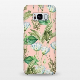 Galaxy S8+  Lilyka by Uma Prabhakar Gokhale (graphic, pattern, vintage, floral, blush, green, blue, white, pink, nature, lily, waterlily, lotus, exotic, flowers, blossom, bloom, tropical)