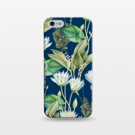 iPhone 5/5E/5s  Lilyka V2 by Uma Prabhakar Gokhale (graphic, pattern, floral, lily, lilies, lotus, tropical, nature, flowers, blossom, bloom, leaves, dark, blue, green, white)