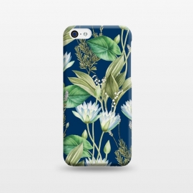 iPhone 5C  Lilyka V2 by Uma Prabhakar Gokhale (graphic, pattern, floral, lily, lilies, lotus, tropical, nature, flowers, blossom, bloom, leaves, dark, blue, green, white)