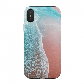 iPhone Xs / X  Sea Blue and Rose Gold by  (graphic design, paint filter, paint effect, digital manipulation, ocean, nature, waves, sea, landscape beach, island, tropical, california, blue, copper, rose gold)