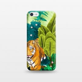 iPhone 5C  Jungle Tiger by Uma Prabhakar Gokhale (watercolor, jungle, forest, tiger, wild animal, wilderness, nature, botanical, wild, cat, animal, tropical, india)