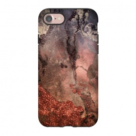 iPhone 8/7  Copper Glitter and Ink Marble by Utart