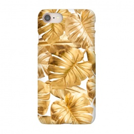 iPhone 8/7  Gold Metal Foil Monstera Leaves Pattern by Utart
