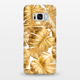 Galaxy S8+  Gold Metal Foil Monstera Leaves Pattern by Utart