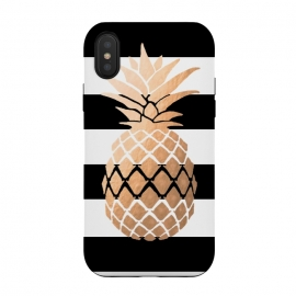 iPhone Xs / X  Pineapple Vibes by ''CVogiatzi. (Pineapple,b&w,cv,cvogiatzi,new,design,black and white,gold,minimal,trend,hot,summer,vibes,modern,pop,beach,sea,good)