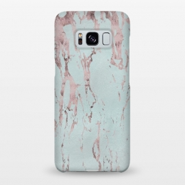 Galaxy S8+  Rose Gold Marble Fragments On Teal by Andrea Haase
