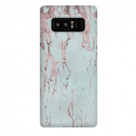 Galaxy Note 8  Rose Gold Marble Fragments On Teal by