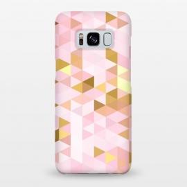 Galaxy S8+  Pink and Rose Gold Marble Triangle Pattern by Utart