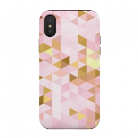 Pink and Rose Gold Marble Triangle Pattern by Utart