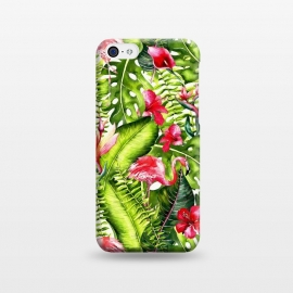 iPhone 5C  Flower Jungle and Flamingo  by Utart
