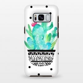 Galaxy S8 plus  Pot Me A Cacti! Dots by  (polkadots,dots,cactus,cacti,botanical,plant,green)