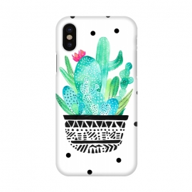 iPhone X  Pot Me A Cacti! Dots by Amaya Brydon (polkadots,dots,cactus,cacti,botanical,plant,green)