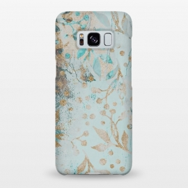 Galaxy S8+   Botanical  Pattern Teal And Gold by Andrea Haase