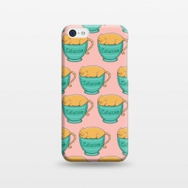 iPhone 5C  Catuccino Pattern 2 by Coffee Man (cat, cats,kitty,cup, coffee,capuccino,cute,adorable,fun,funny,humor,coffee lover,pet,pets,animal,animals)