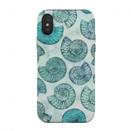 iPhone Xs / X  Teal Fossils And Ammonites by Andrea Haase