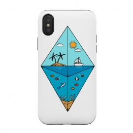 iPhone Xs / X  Diamond Landscape by Coffee Man (nature,beach,summer,spring break,diamond,geometric,marine, ocean,sea,sun,fish,creative,outdoors)