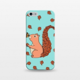 iPhone 5/5E/5s  Squirrel and Butterfly by Coffee Man (squirrel, butterfly, nature, fall,pet, pets, animals,animal,animal lover,cute, adorable, forest,ardilla, mariposa, girl)