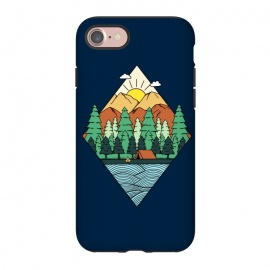 iPhone 8/7  Mountain Diamond by Coffee Man (landscape, forest, outdoors,mountain, sun, tree,diamond, river, nature, adventure,minimalism,geometric,camp, camping, male, man, boy, explore)