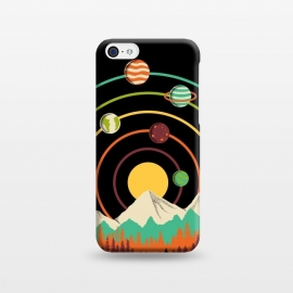 iPhone 5C  Planets Landscape by Coffee Man (landscape, nature, mountain, outdoors, adventure, forest, tree,sun, geometric, lines, planets, space, galaxy, colorful,sunset,universe)