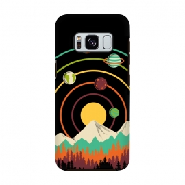 Galaxy S8  Planets Landscape by Coffee Man (landscape, nature, mountain, outdoors, adventure, forest, tree,sun, geometric, lines, planets, space, galaxy, colorful,sunset,universe)