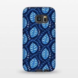 Galaxy S7  Blue Decorative Geometric Leaves Pattern by Boriana Giormova