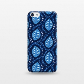 iPhone 5C  Blue Decorative Geometric Leaves Pattern by Boriana Giormova
