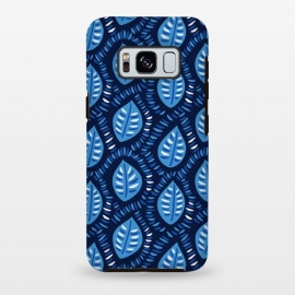 Blue Decorative Geometric Leaves Pattern by Boriana Giormova