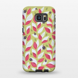 Galaxy S7 EDGE  Green Plant With Pink Leaves And Ladybugs Spring by Boriana Giormova