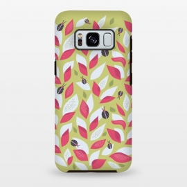 Galaxy S8+  Green Plant With Pink Leaves And Ladybugs Spring by Boriana Giormova