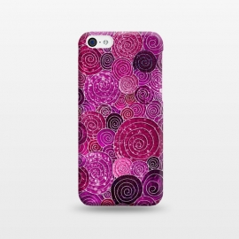 iPhone 5C  Pink and Purple Metal Foil Circles  by Utart