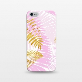 iPhone 5/5E/5s  Pink and Gold Palm Leaves by Utart