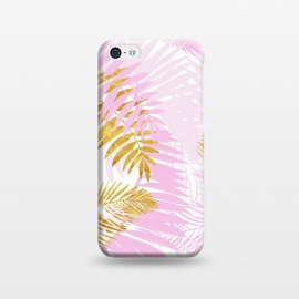iPhone 5C  Pink and Gold Palm Leaves by Utart
